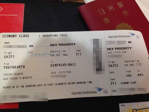 スカイチームエリートプラス会員がガルーダインドネシア国内線を利用した時の搭乗券