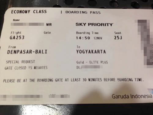 スカイチームエリートプラスがガルーダインドネシア国内線に乗った時の搭乗券