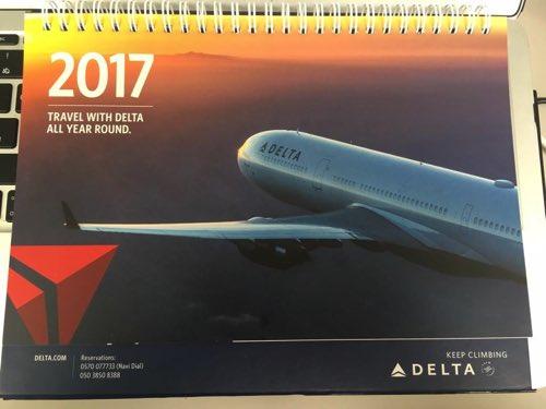 デルタ航空から届いたカレンダー