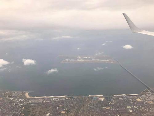 伊丹空港に向かう機内から見た関西空港