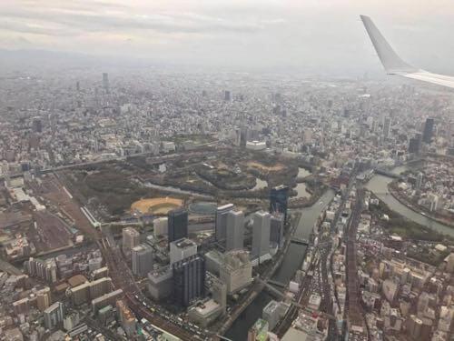伊丹空港に向かう機内から見えた大阪城
