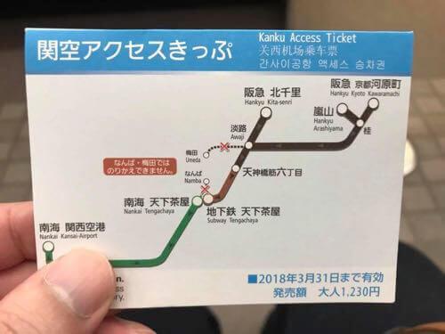 関空アクセスきっぷの経路図