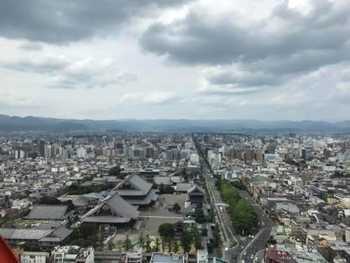 京都タワー展望室からの北側の様子