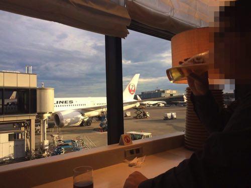 成田空港サテライトのJALサクララウンジからの風景