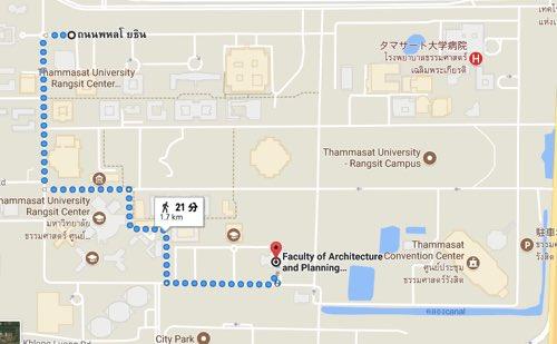 タマサート大学ランシットキャンパスのバン到着地から目的地まで