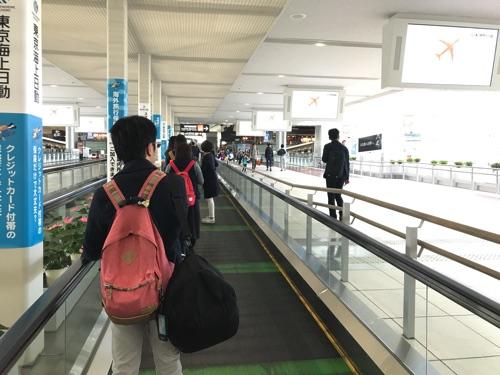 中部国際空港の遅い歩く歩道