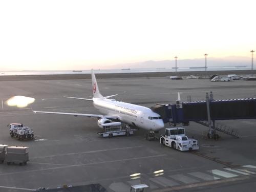 中部国際空港発、伊丹行きのJAL機