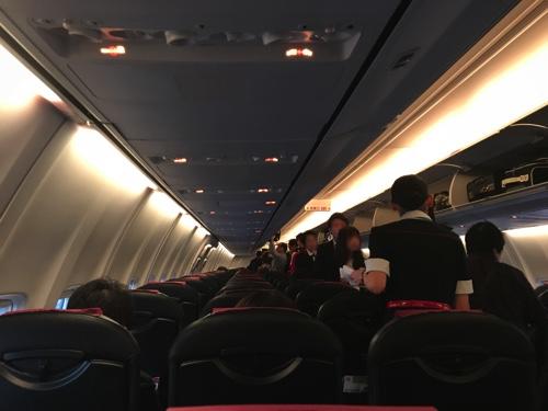 JALの機内混雑の様子、中部国際空港