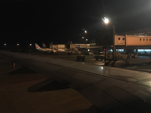 新千歳空港に到着したJAL便