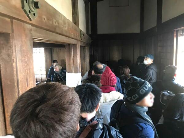 姫路城の大天守の最上階の