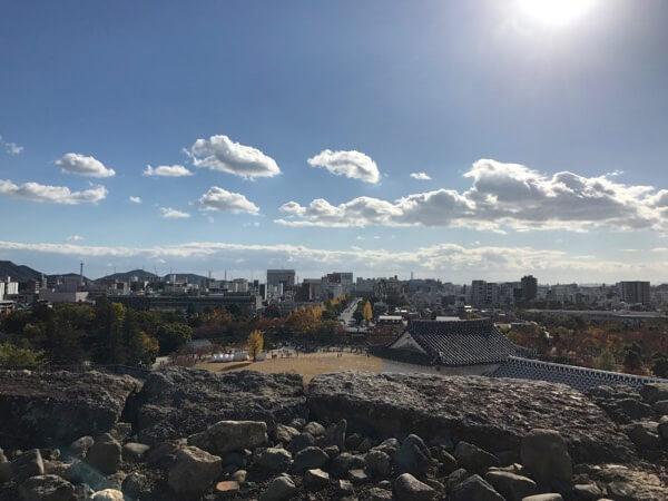 姫路城の備前丸からの景色(姫路駅側)