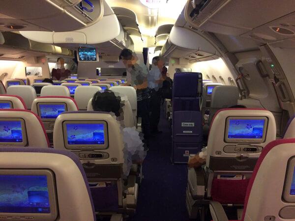 タイ国際航空A380の2階エコノミー
